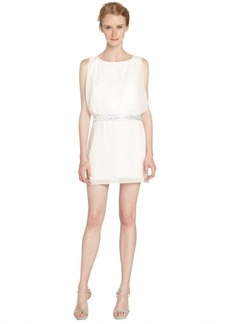 Laundry by Shelli Segal warm white beaded blouson evening dress