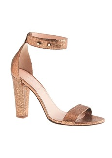 Lanie crackled metallic leather stacked-heel sandals