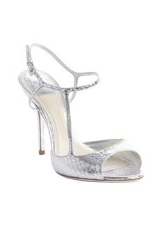 Christian Dior platinum silver snakeskin embossed leather sandals