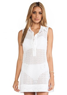 Nanette Lepore Ooh La La Eyelet Shirt Dress in White