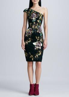 David Meister One-Shoulder Floral Cocktail Dress