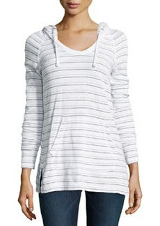 James Perse Striped Raglan Pullover Hoodie, White