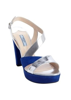 Prada blue and silver patent leather strappy suede heel sandals