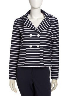 Nanette Lepore Striped Double-Breasted Jacket, Navy/White