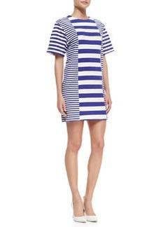 Striped-Jersey Short-Sleeve Dress   Striped-Jersey Short-Sleeve Dress