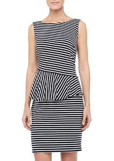 Laundry by Shelli Segal Striped Asymmetric-Peplum Dress, Optic White/Black