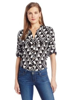 Calvin Klein Women's Printed Roll-Sleeve Shirt