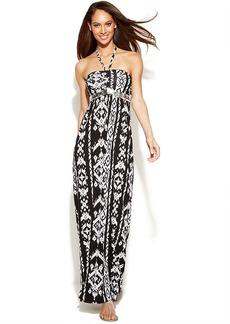 INC International Concepts Petite Embellished Printed Halter Maxi Dress