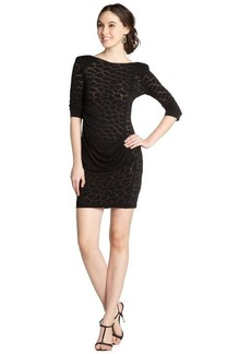 A.B.S. by Allen Schwartz black burnout animal print jersey 3/4 sleeve dress