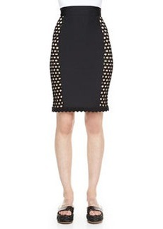 Jean Paul Gaultier Side-Crochet Fitted Skirt, Black