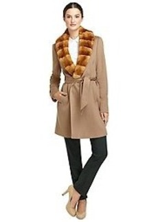 Wool Wrap Coat with Rabbit Fur