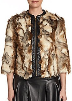 Twelfth Street by Cynthia Vincent Faux Leather Trimmed Faux Fur Jacket