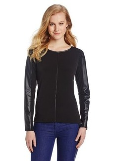Calvin Klein Women's Long-Sleeve Top with Faux-Leather Trim