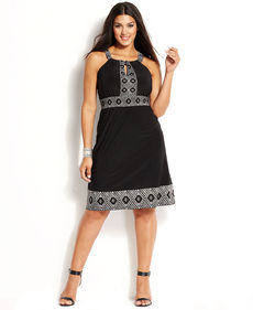 INC International Concepts Plus Size Embellished Printed Halter Dress