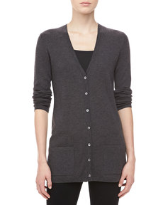 Michael Kors Cashmere V-Neck Cardigan, Charcoal