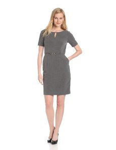 Ellen Tracy Women's Short Sleeve Belted Slit Neck Dress