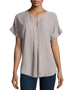 Max Studio Geo-Print Split-Neck Top, Ivory/Black/Chambray