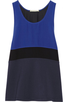 Marni Color-block cotton and silk-blend top
