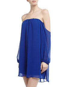 T Bags Off-The-Shoulder Chiffon Shift Dress, Royal Blue