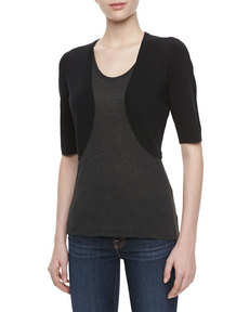Michael Kors Featherweight Cashmere Shrug, Black