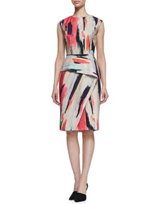 Lela Rose Brushstroke-Print Cotton Dress with Folded Skirt