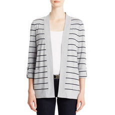 Striped Cotton Cardigan Sweater with Open Front
