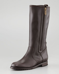 Manolo Blahnik Ermetas Mid-Calf Side-Zip Boot