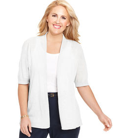Charter Club Plus Size Short-Sleeve Open-Front Cardigan
