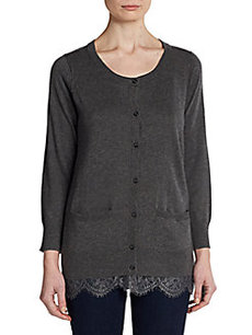 Joie Lane Lace-Trimmed Knit Cardigan