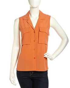 Lafayette 148 New York Jolisa Sleeveless Sandwashed Crepe De Chine Blouse, Mandarin