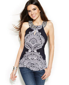 INC International Concepts Embellished Printed Halter Top