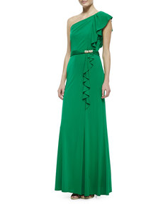 David Meister One-Shoulder Ruffle Jersey Gown, Green