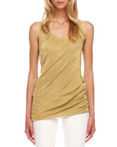 Michael Kors Gathered Mesh Lame Tank