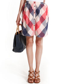 Tommy Hilfiger Gingham Button-Front Skirt