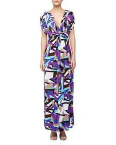T Bags Geometric Print Mirrored V Maxi Dress