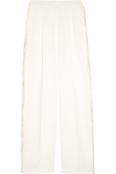 Stella McCartney Fringed crepe wide-leg pants