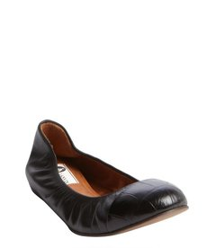 Lanvin black leather turtle shell embossed flats