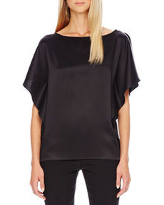 Satin Flutter-Sleeve Tunic   Satin Flutter-Sleeve Tunic