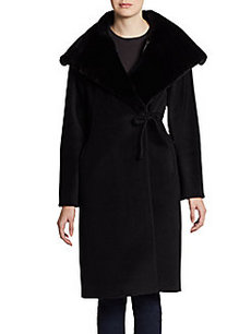 Cinzia Rocca Fur-Lined Portrait Collar Wrap Coat