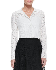Carmen Marc Valvo Long-Sleeve Eyelet Blouse