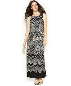 Alfani Printed Blouson Maxi Dress