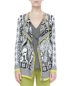 Open Paisley Knit Cardigan, Black/White   Open Paisley Knit Cardigan, Black/White