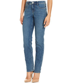 Style&co. Tummy-Control Slim Straight-Leg Jeans, Faith Wash