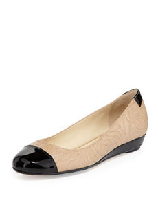 Taryn Rose Pamona Stitched-Leather Cap-Toe Flat, Beige