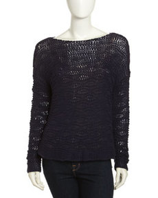 Paper Denim & Cloth Pullover Open Knit Sweater, Navy