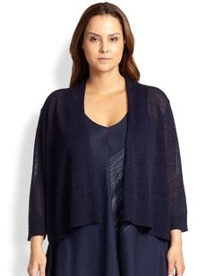 Eileen Fisher, Sizes 14-24 Three-Quarter-Sleeve Open Cardigan