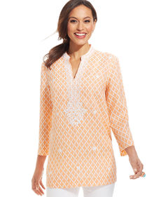 Charter Club Printed Embroidered Linen Tunic