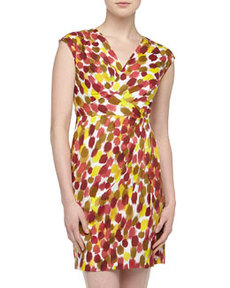 Lafayette 148 New York Elsa Brushstroke Print Cross-Front Dress, Spectrum