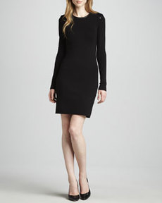 J Brand Ready to Wear Sydney Leather-Trim Long-Sleeve Dress
