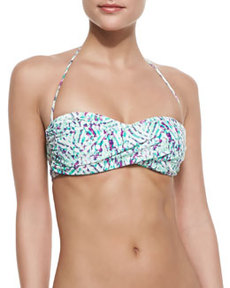 Shoshanna Occitan Ikat Twisted Bandeau Bikini Top